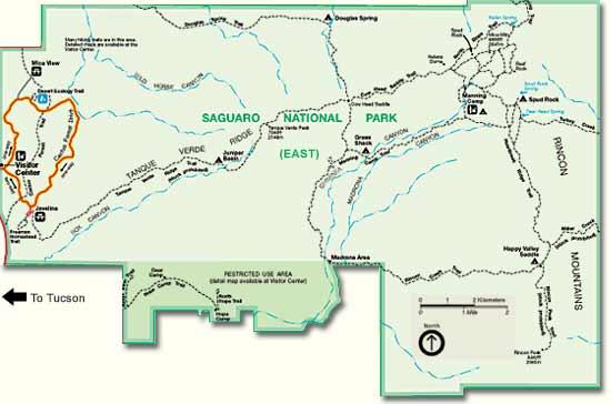 Saguaro National Park Hiking Map Saguaro National Park Trail